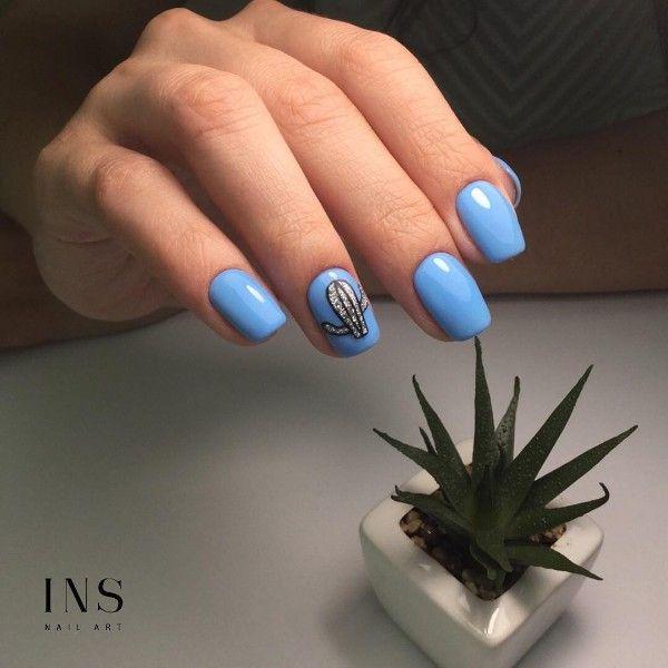 голубой маникюр серебристый кактус