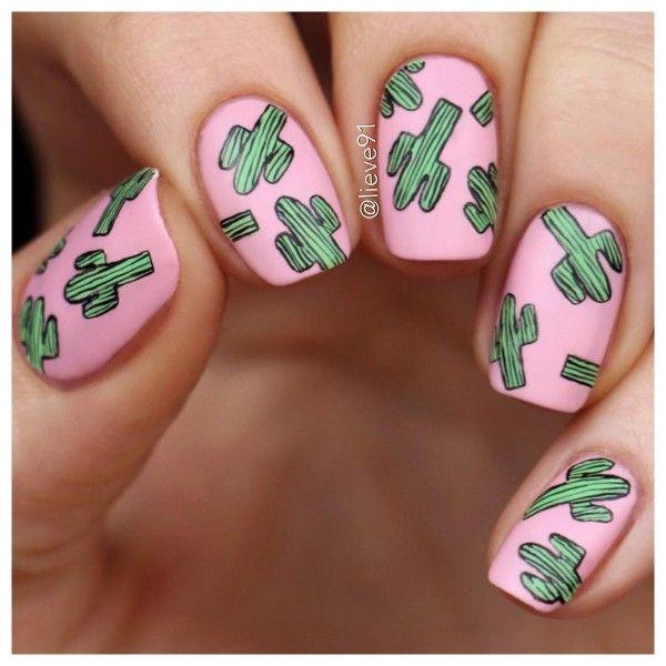 розовый маникюр в кактусы