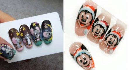 50+ фото новогоднего маникюра с мышками и крысами