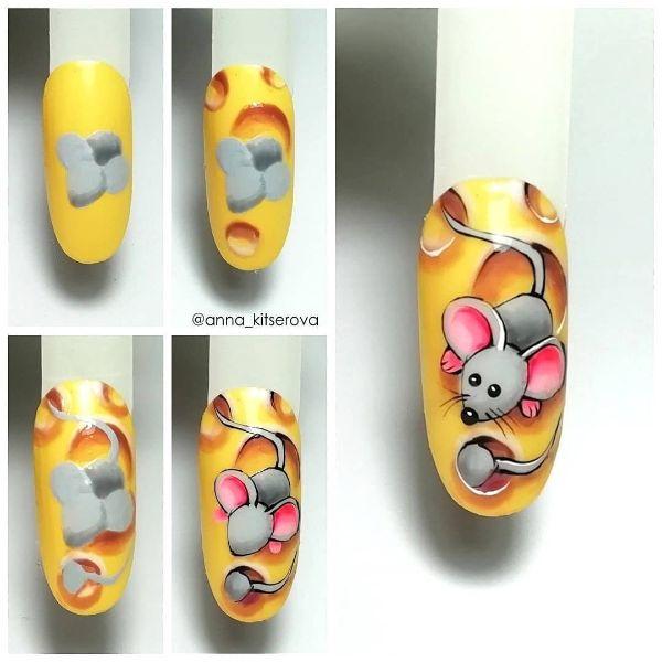 как нарисовать мышку на ногтях