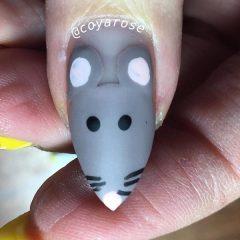 маникюр крыса на новый год острые ногти