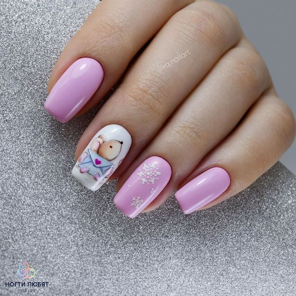 дизайн ногтей с мышкой