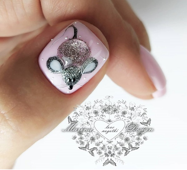 маникюр мышка на большом ногте