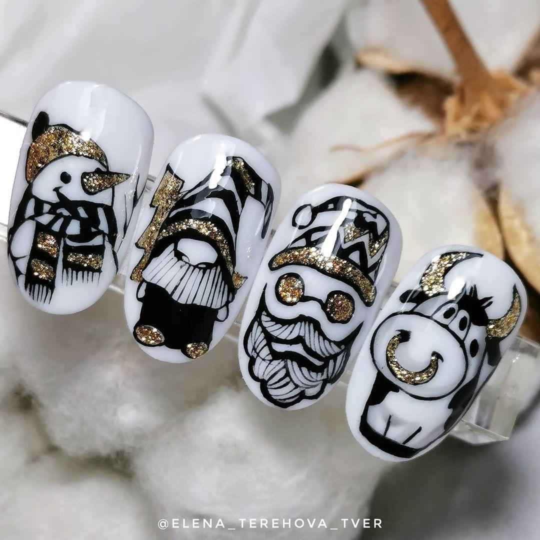 дизайн-ногтей-новогодний-бычок-символ-года