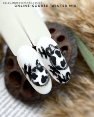 дизайн-ногтей-елочная-игрушка-с-принтом-пятна-коровы