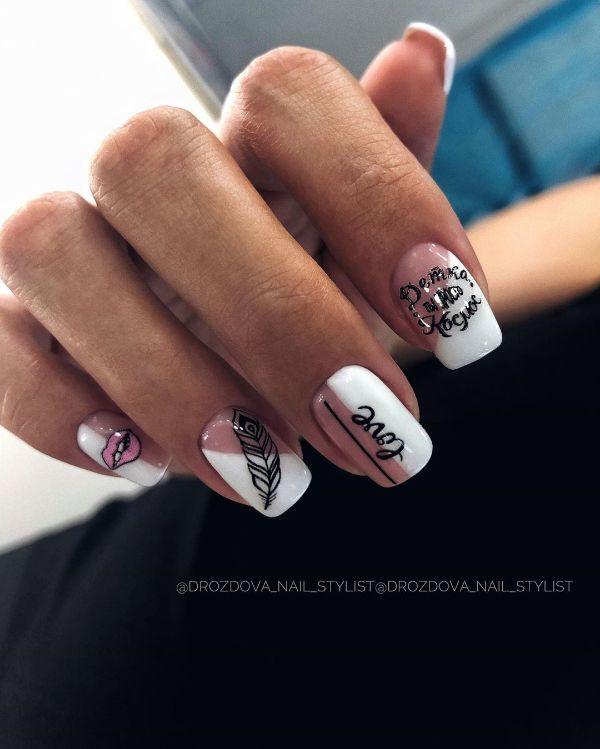 белый ногти с дизайном надпись