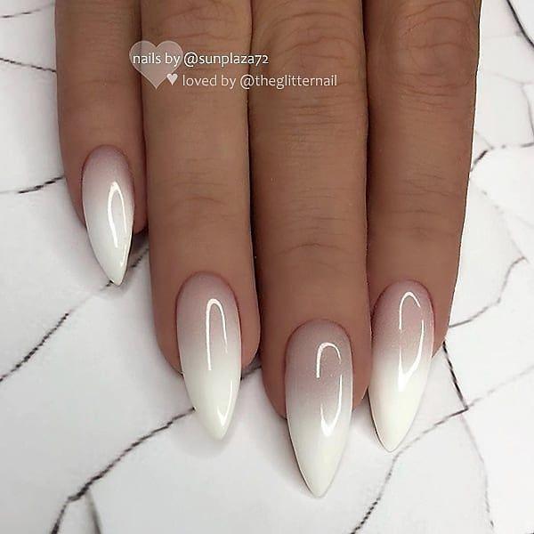 белый дизайн ногтей омбре беби бумер