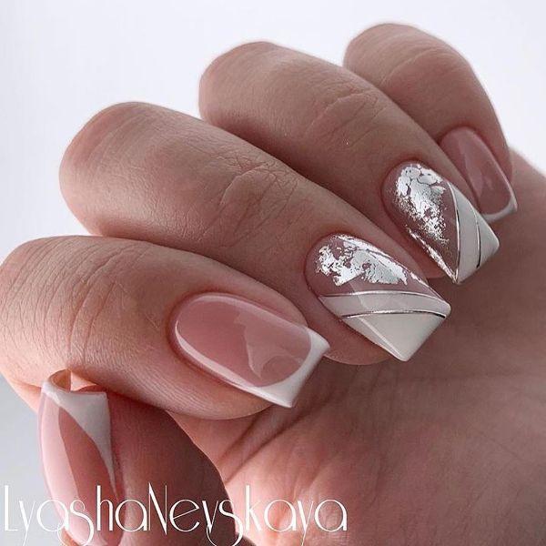 белый нейл-арт с серебряным декором