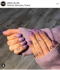 фиолетовый маникюр пламя