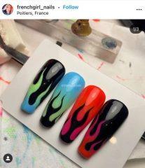накладные ногти с дизайном пламя