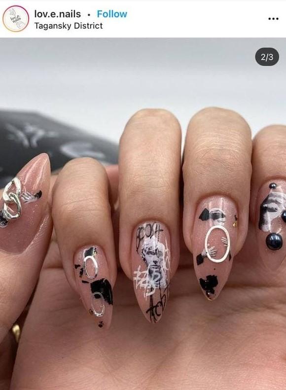 дизайн ногтей в стиле граффити