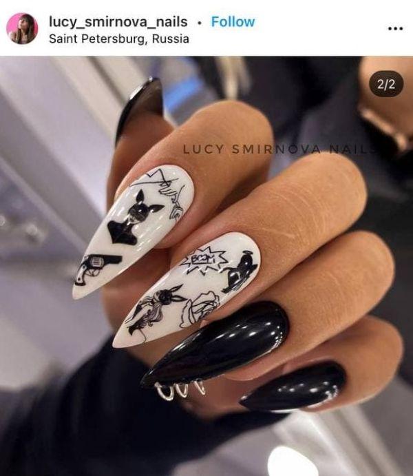 дизайн ногтей тату